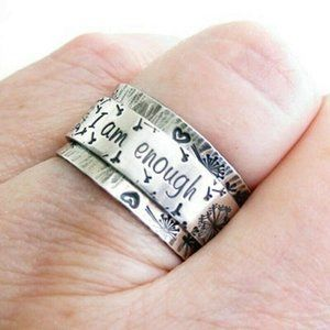 925 Silver, I am enough ring, size 6